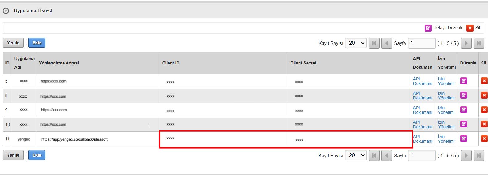 IdeaSoft paneli API bilgilerini kopyalama ekran görüntüsü