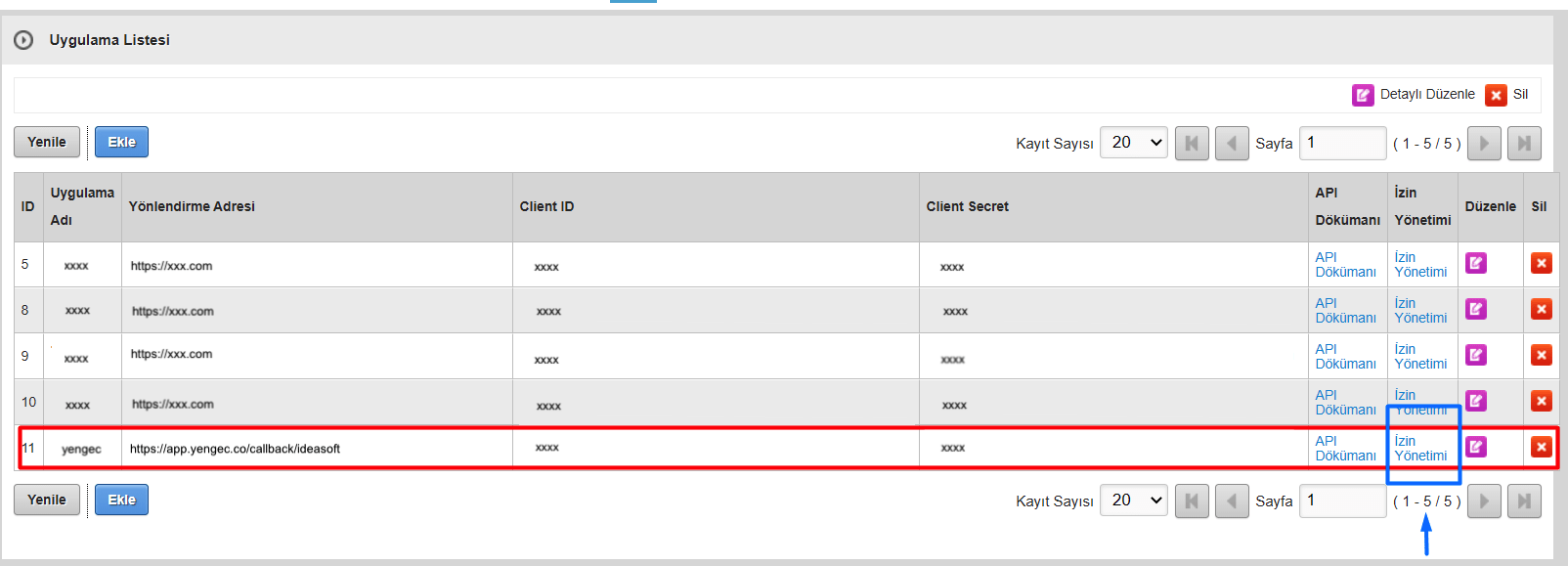 IdeaSoft paneli API izin yönetimi ekran görüntüsü