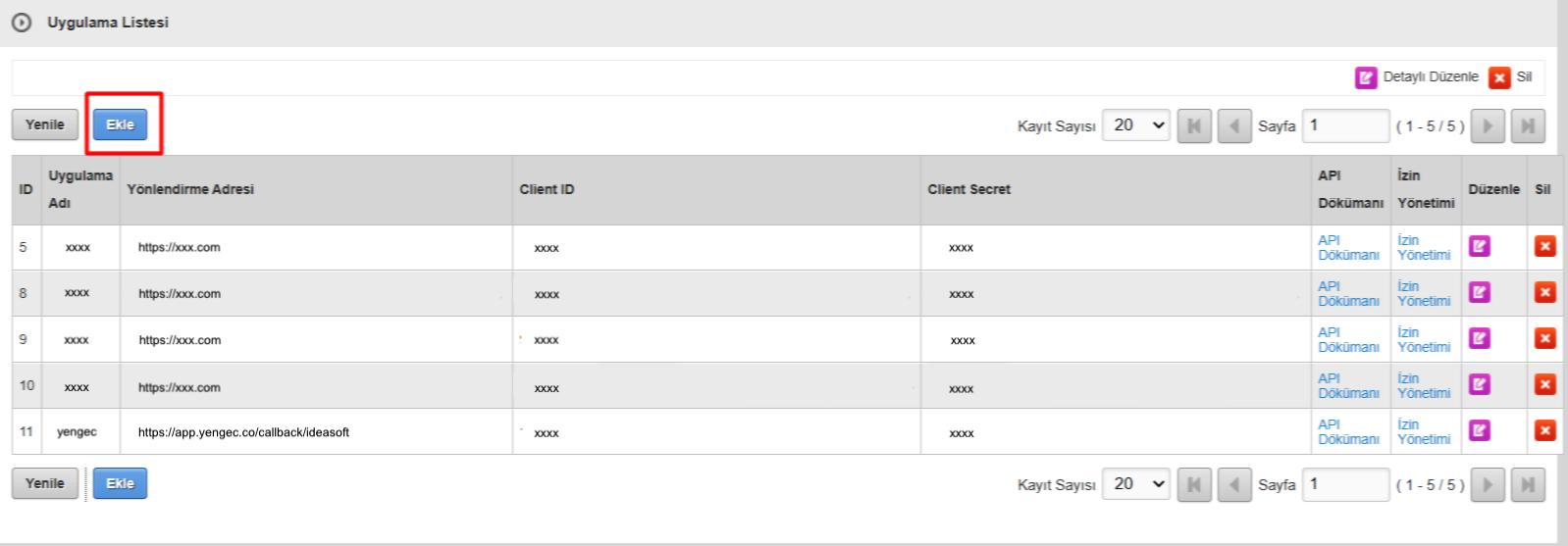 IdeaSoft paneli API ekleme ekran görüntüsü