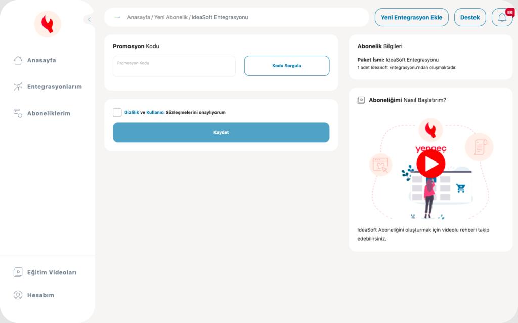 Yengeç promosyon kodu ekleme ekran görüntüsü