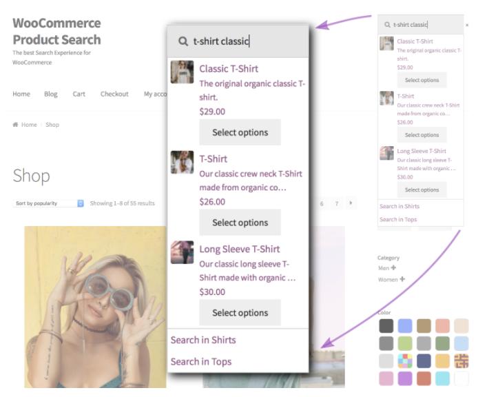ürün arama (product search) eklentisinin uygulanmış olduğu ekran görüntüsü