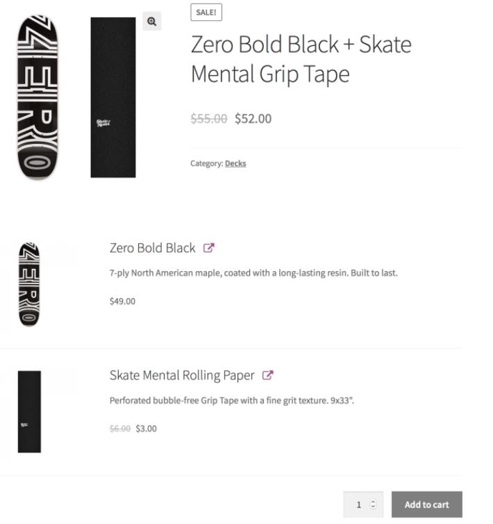 gruplanmış ürün (product bundle) eklentisinin uygulanmış olduğu ekran görüntüsü