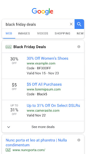 Kara Cuma (Black Friday) Google reklamlarını temsil eden ekran görüntüsü