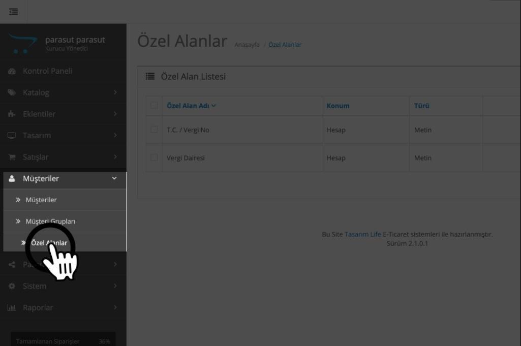 Paraşüt OpenCart Entegrasyonu OpenCart Site Panel Menu Özel Alanlar