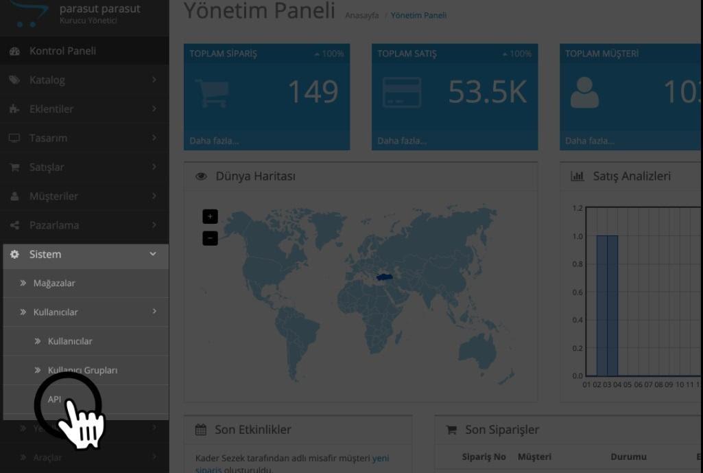 Paraşüt OpenCart Entegrasyonu OpenCart Site Panel Menü APİ