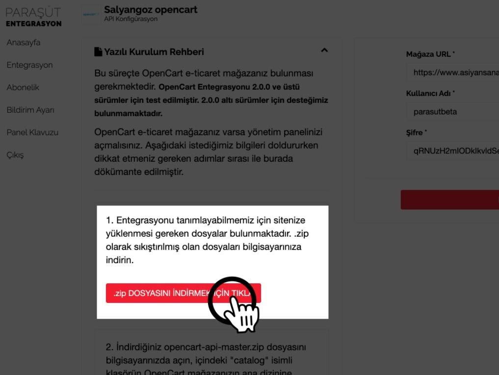 Paraşüt OpenCart Entegrasyonu Kurulum