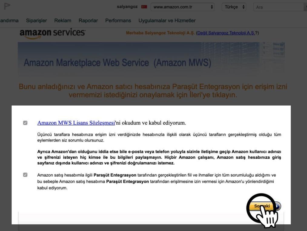 Paraşüt Amazon Entegrasyonu Amazon Uygulama Yetkilendirme