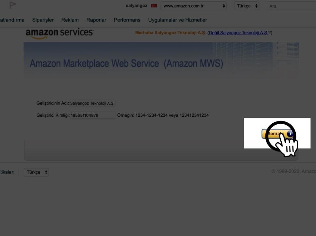 Paraşüt Amazon Entegrasyonu Amazon Uygulama Ekleme