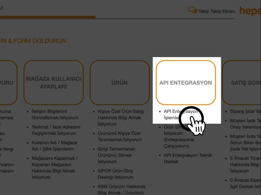 Paraşüt Hepsiburada Entegrasyonu için Hepsiburada paneli menüsünden API Entegrasyonu ekran görüntüsü