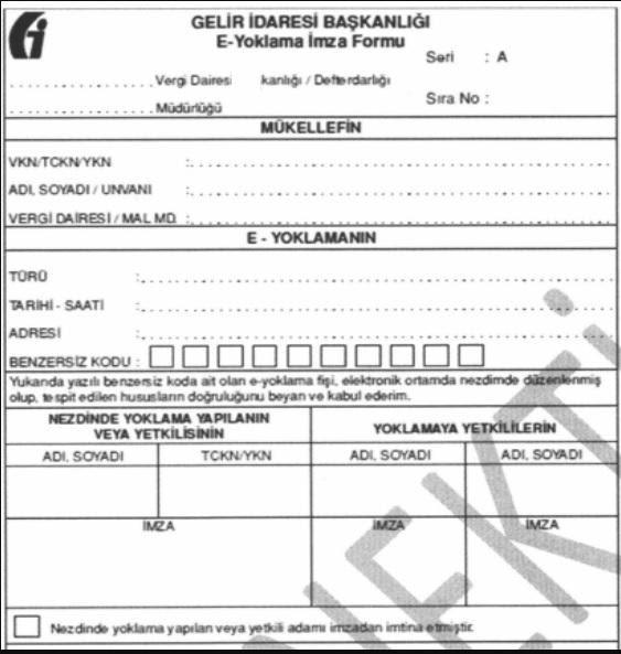 şahıs şirketi kurmak için Gelir İdaresi Başkanlığı e-Yoklama İmza Formu'nun ekran görüntüsü