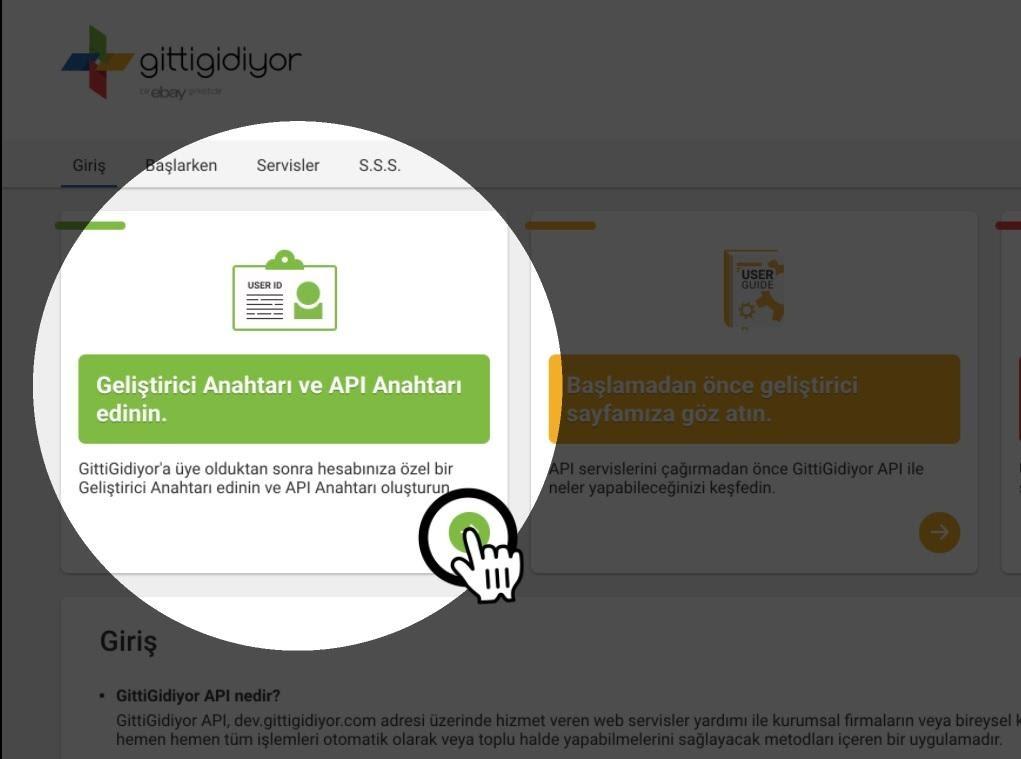 Paraşüt GittiGidiyor Entegrasyonu GittiGidiyor Geliştirici ve API Anahtarları ekran görüntüsü