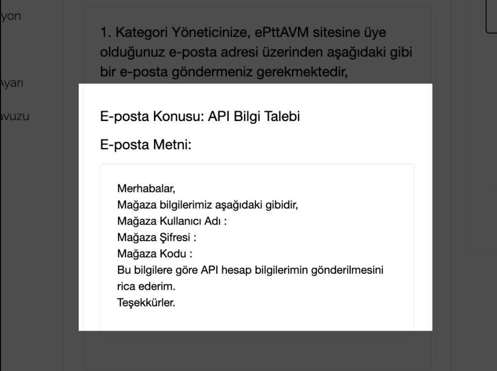 Paraşüt ePttAVM Entegrasyonu e-posta Mesajı Örneği