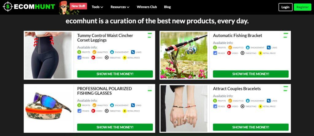 dropshipping modeli Ecomhunt sitesi ekran görüntüsü
