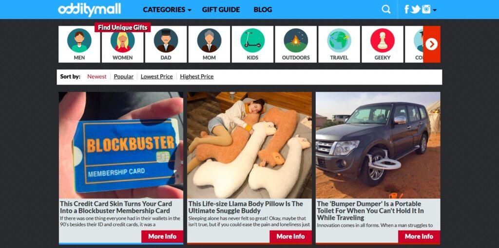 dropshipping modeli Odditymall sitesi ekran görüntüsü