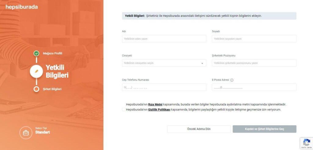 Hepsiburada mağaza açma süreci yetkili bilgileri formu ekran görüntüsü