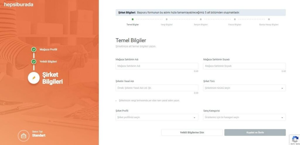 Hepsiburada mağaza açma süreci şirket bilgileri formu ekran görüntüsü