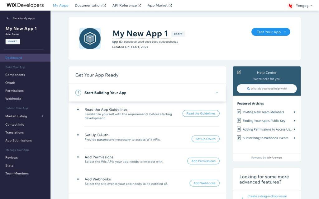 Yengeç Wix entegrasyonu için Wix Developers yeni uygulama ekleme