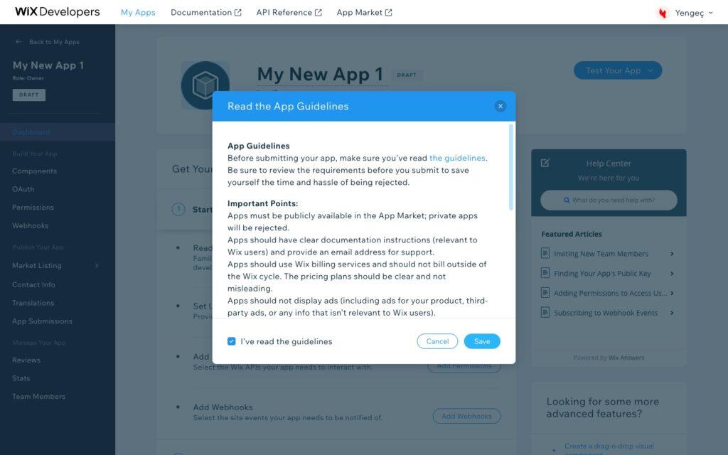 Yengeç Wix entegrasyonu için Wix Developers uygulama koşulları onayı