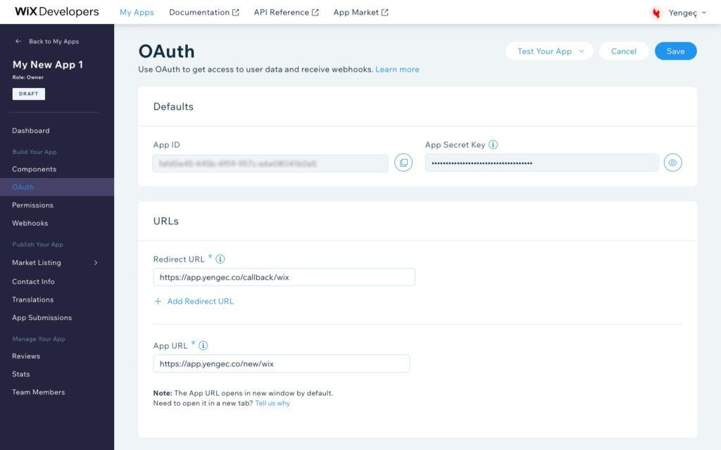 Yengeç Wix entegrasyonu için Wix Developers uygulama oauth ayarları