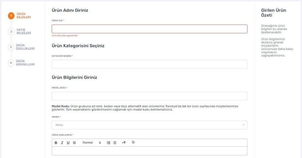 Trendyol satıcı paneli tekli ürün oluşturma adımlarından ürün bilgileri formu ekran görüntüsü