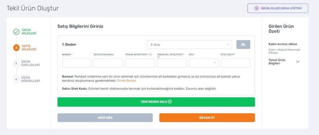 Trendyol satıcı paneli tekli ürün oluşturma adımlarından satış bilgileri formu ekran görüntüsü