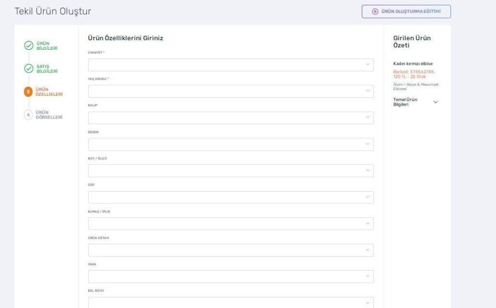 Trendyol satıcı paneli tekli ürün oluşturma adımlarından ürün özellikleri formu ekran görüntüsü