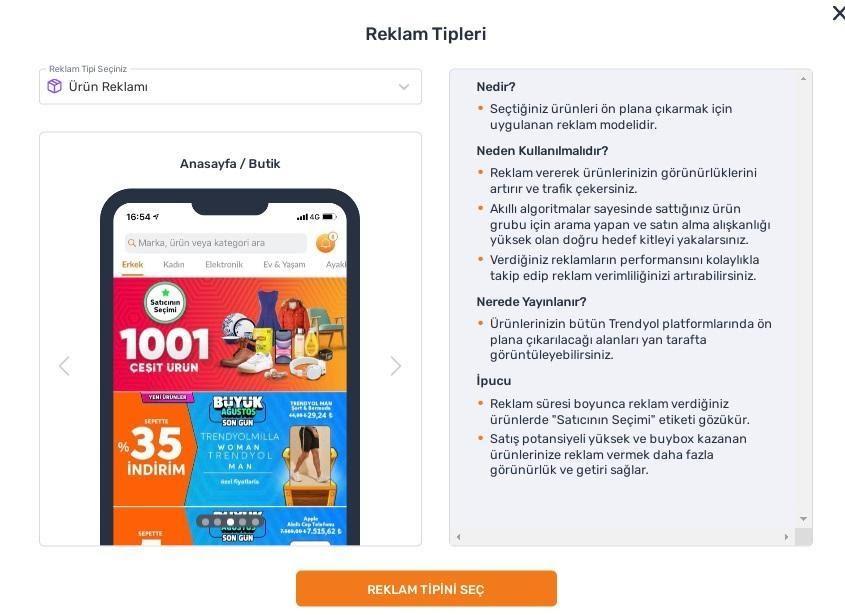 Trendyol satıcı paneli reklam oluşturma adımlarından reklam tipleri ekran görüntüsü