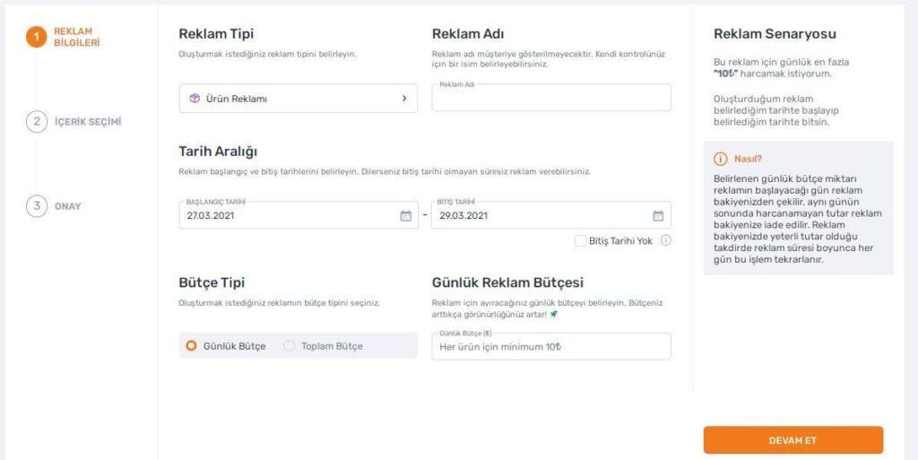 Trendyol satıcı paneli reklam oluşturma adımlarından reklam bilgileri formunun ekran görüntüsü