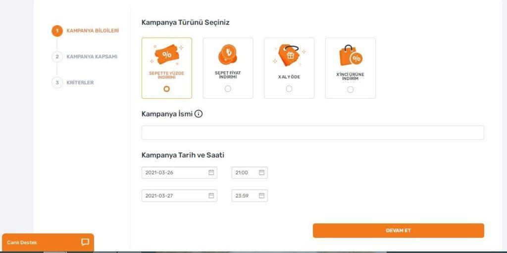 Trendyol satıcı paneli kampanya oluşturma adımları ekran görüntüsü