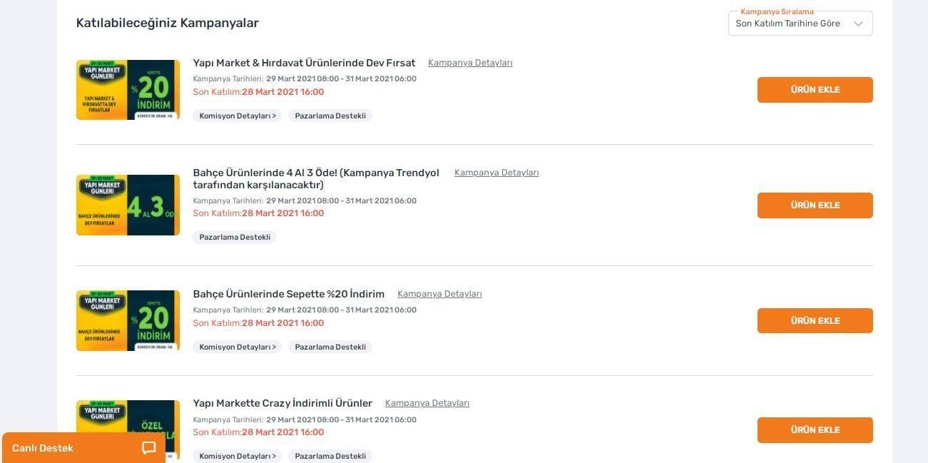 Trendyol satıcı paneli katılabileceğiniz Trendyol kampanyaları ekran görüntüsü