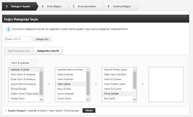 N11 satıcı paneli ürün yükleme adımlarından kategori seçimi ekran görüntüsü