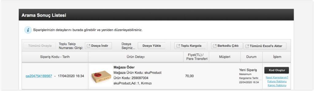 n11 satıcı paneli sipariş yönetimi için onaylanan yeni sipariş ekran görüntüsü