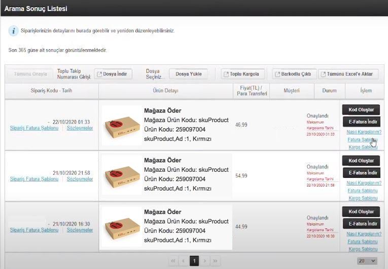n11 satıcı paneli sipariş yönetimi onaylanan siparişler fatura şablonu bağlantısı ekran görüntüsü