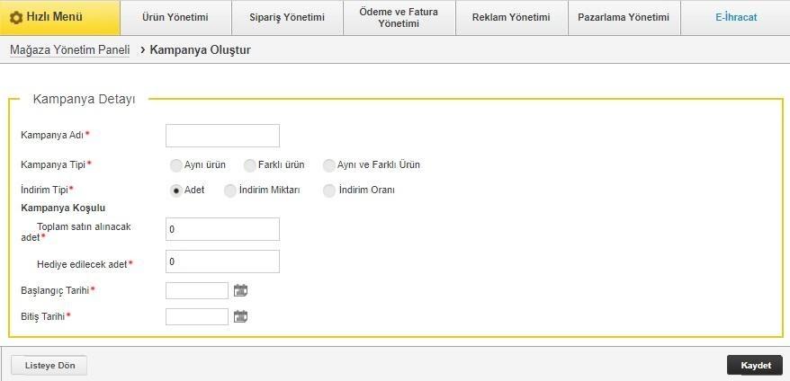 N11 satıcı paneli kampanya oluşturma formunun ekran görüntüsü