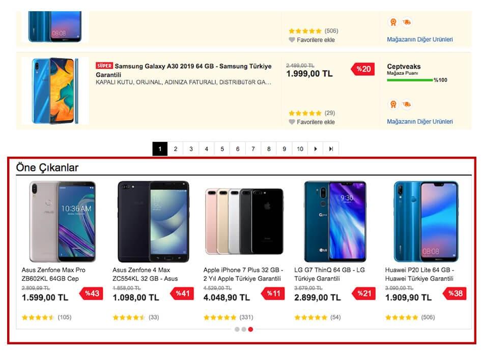 n11.com üzerinde ücretli reklam bloklarını örneklendiren ekran görüntüsü