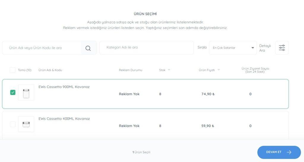 N11 satıcı paneli reklam yönetimi kategori reklamı için ürün seçimi formunun ekran görüntüsü