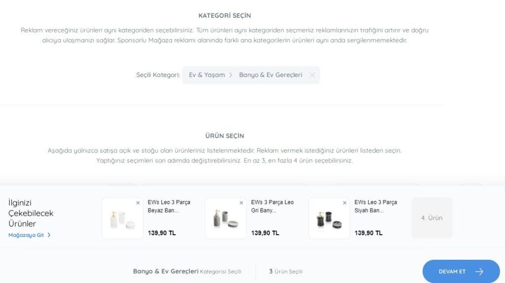 N11 satıcı paneli reklam yönetimi sponsorlu mağaza reklamı için kategori ve ürün seçimi formunun ekran görüntüsü