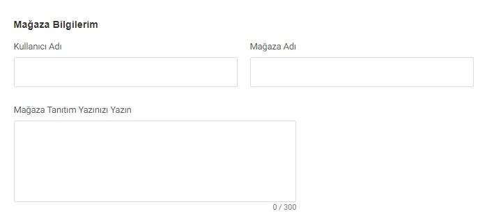 GittiGidiyor'da mağaza açma sürecinin mağaza bilgileri formu ekran görüntüsü