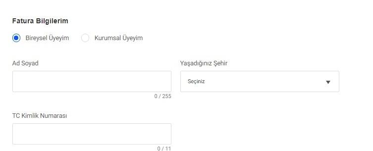 GittiGidiyor'da mağaza açma sürecinin fatura bilgileri formu ekran görüntüsü