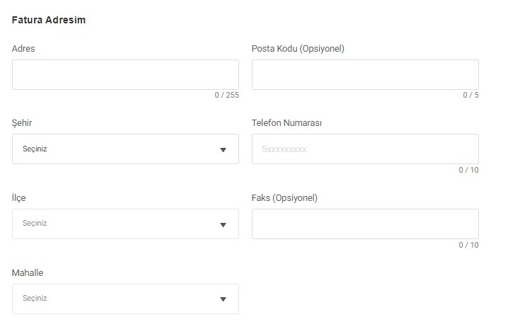 GittiGidiyor'da mağaza açma sürecinin fatura adresi formu ekran görüntüsü