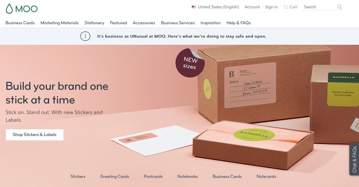 kartvizit hazırlamaya yardımcı araçlardan Moo'nun ekran görüntüsü