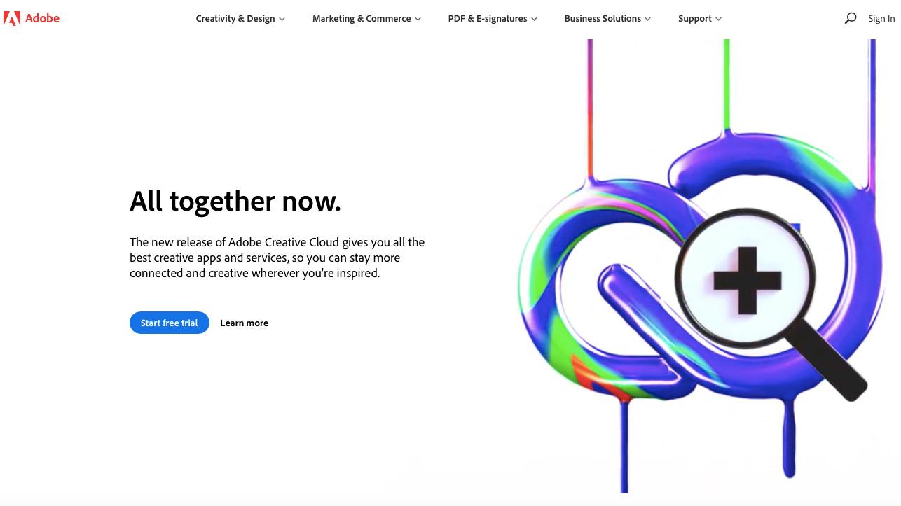 kartvizit hazırlamaya yardımcı araçlardan Adobe'un ekran görüntüsü