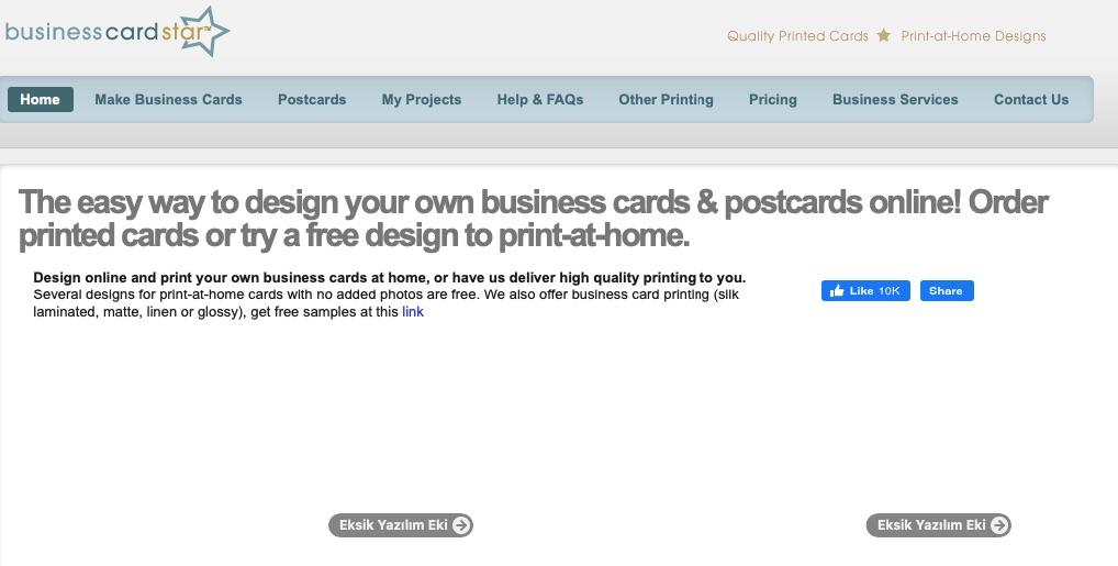 kartvizit hazırlamaya yardımcı araçlardan Business Card Star'ın ekran görüntüsü