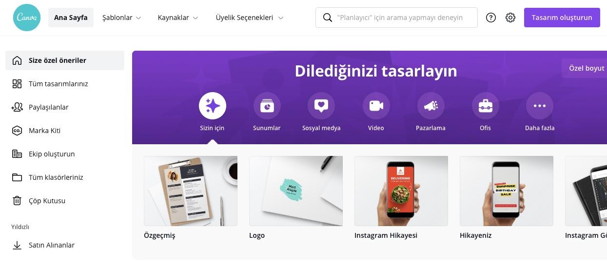 kartvizit hazırlamaya yardımcı araçlardan Canva'nın ekran görüntüsü
