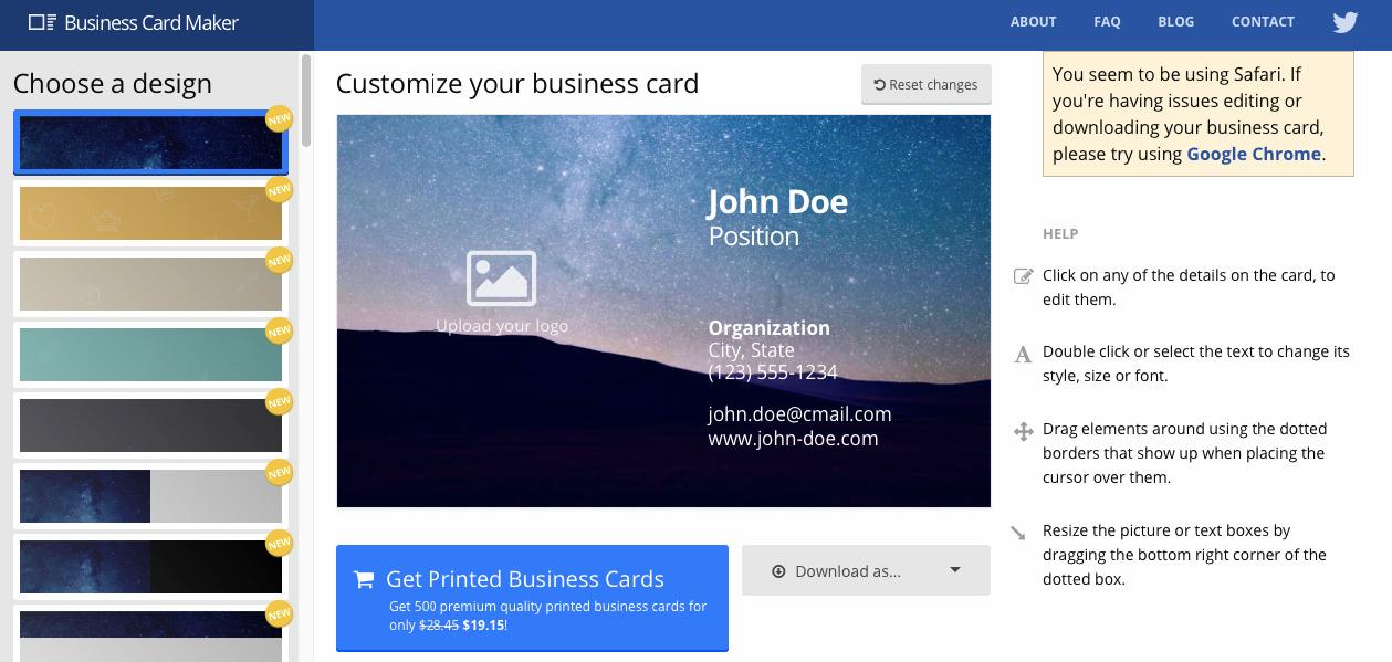kartvizit hazırlamaya yardımcı araçlardan Business Card Maker'ın ekran görüntüsü