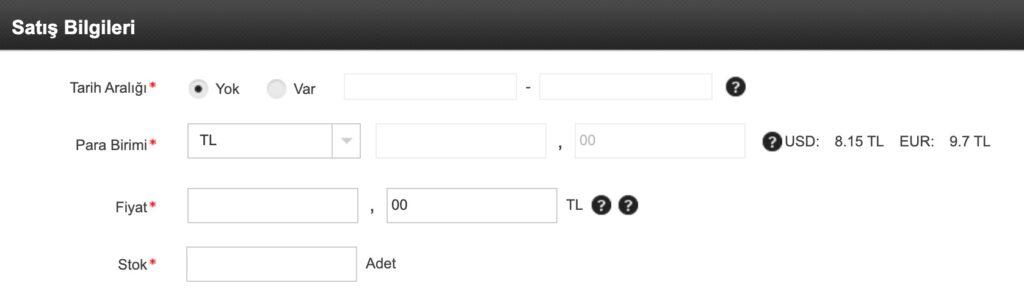 N11 satıcı paneli ürün yükleme adımlarından ürün bilgisi adımında satış bilgileri ekran görüntüsü