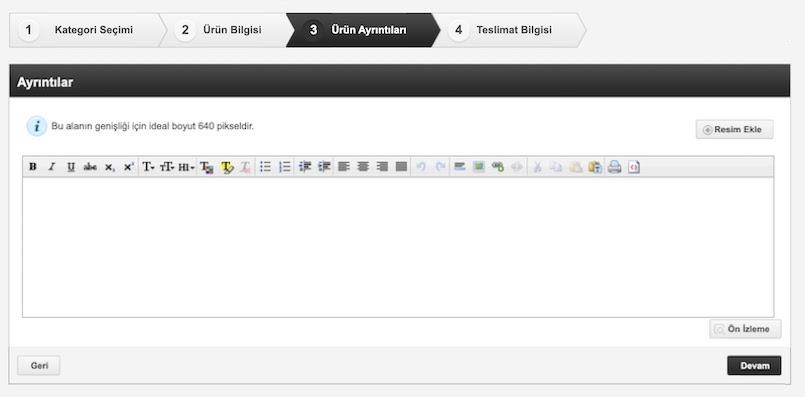N11 satıcı paneli ürün yükleme adımlarından ürün ayrıntıları ekran görüntüsü