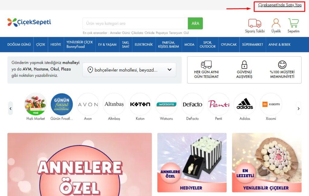ÇiçekSepeti'nde mağaza açmak için ÇiçekSepeti'nde Satış Yap bağlantısı ekran görüntüsü
