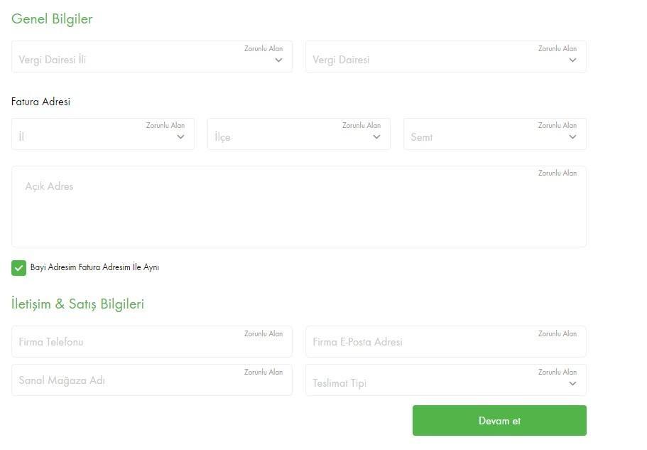ÇiçekSepeti'nde mağaza açmak için mağaza açma formu firma detay bilgileri aşamasının ekran görüntüsü