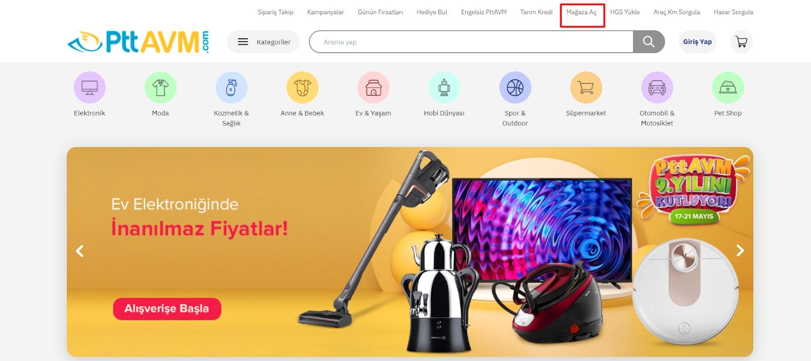 ePttAVM'de mağaza açmak için ePttAVM sitesinde Mağaza Aç menü başlığı ekran görüntüsü